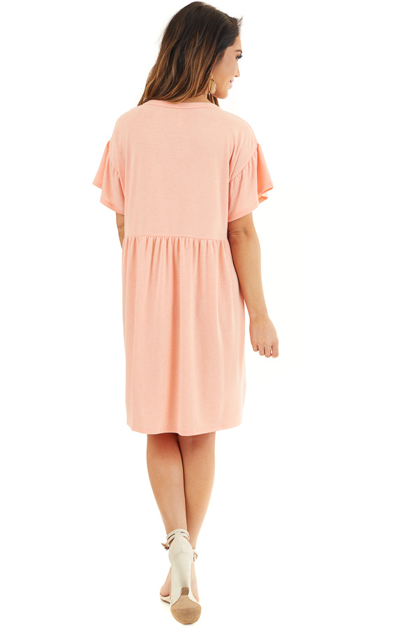 Bright Peach Short Sleeve Short Dress with Tiered Hemline back full body