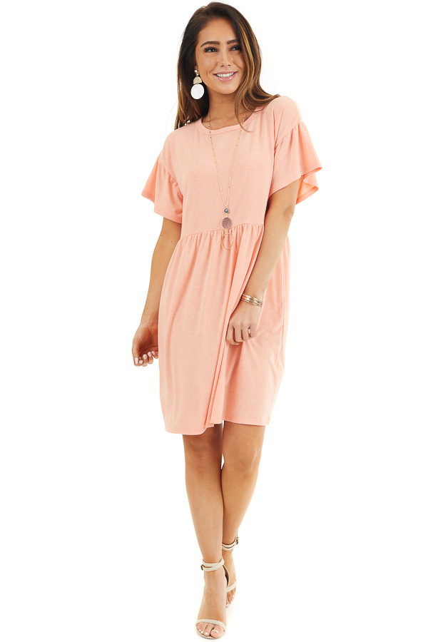 Bright Peach Short Sleeve Short Dress with Tiered Hemline front full body