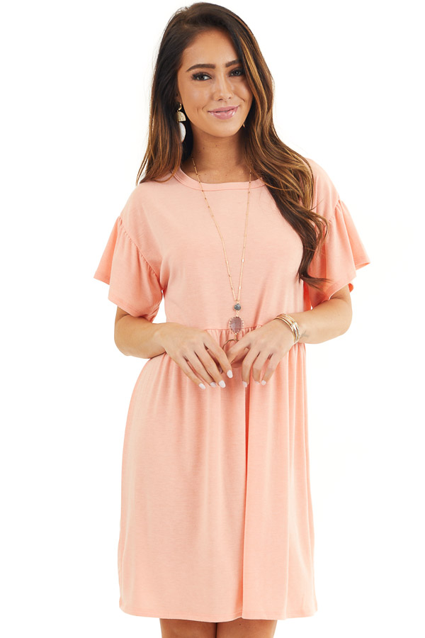 Bright Peach Short Sleeve Short Dress with Tiered Hemline front close  up