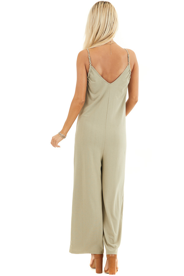 Pale Pistachio Ribbed Knit Sleeveless Jumpsuit with Lining back full body