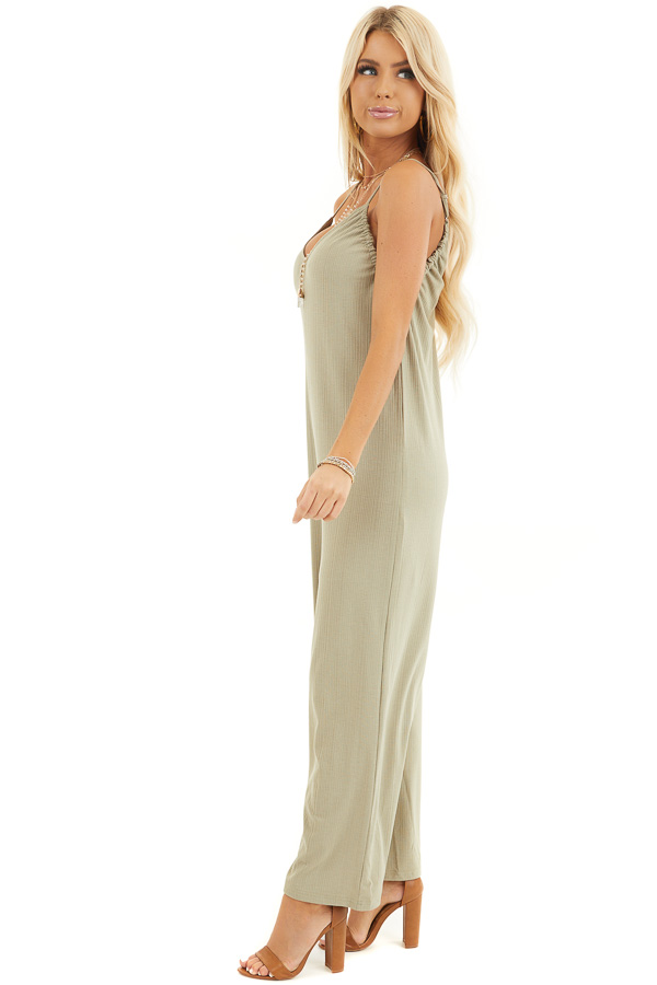 Pale Pistachio Ribbed Knit Sleeveless Jumpsuit with Lining side full body