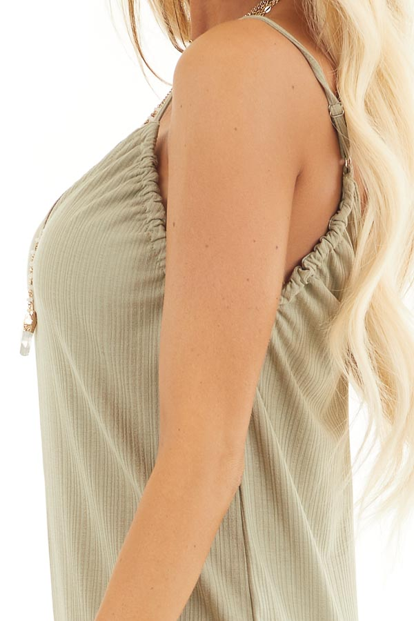 Pale Pistachio Ribbed Knit Sleeveless Jumpsuit with Lining detail
