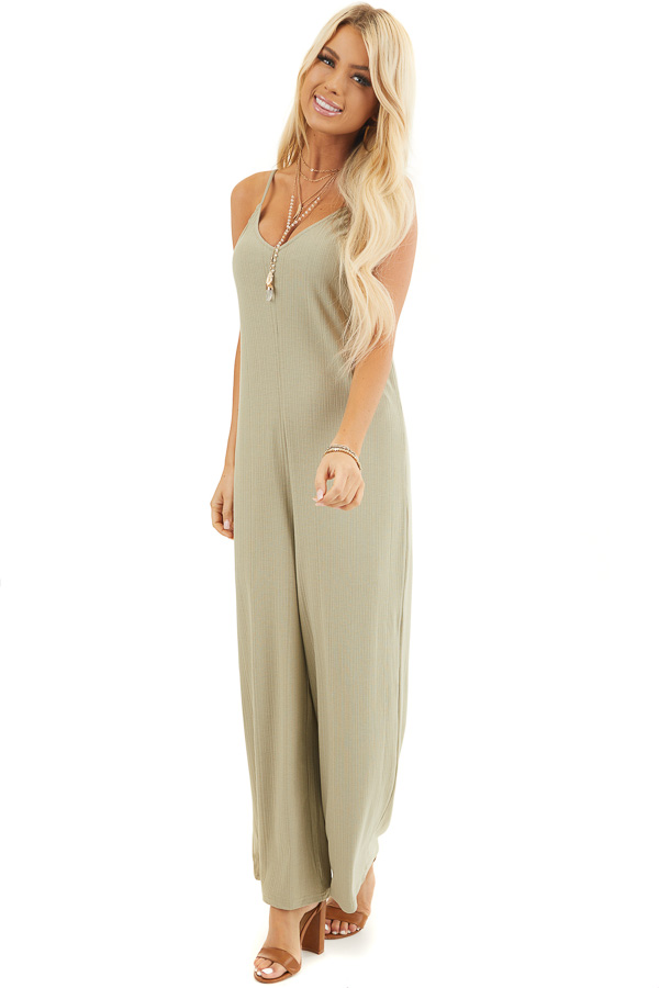 Pale Pistachio Ribbed Knit Sleeveless Jumpsuit with Lining front full body