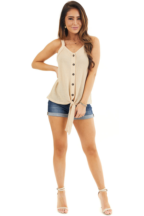 Champagne Waffle Knit Tank Top with Button Down Front Detail front full body