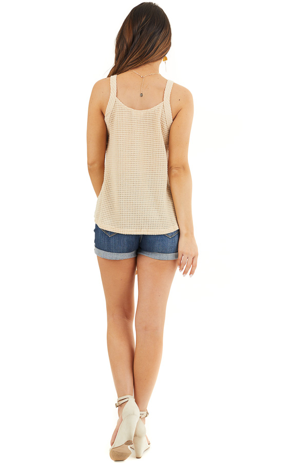 Champagne Waffle Knit Tank Top with Button Down Front Detail back full body