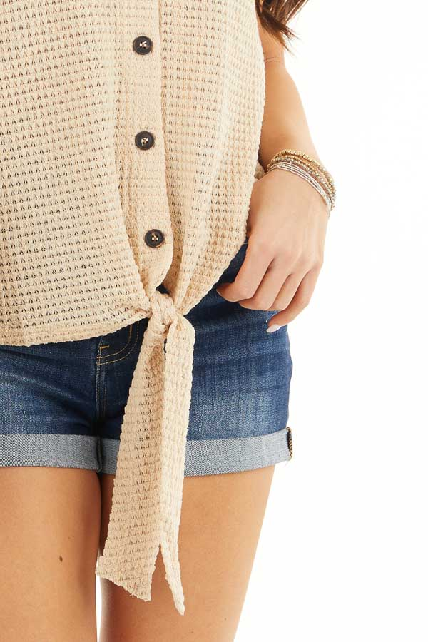 Champagne Waffle Knit Tank Top with Button Down Front Detail detail