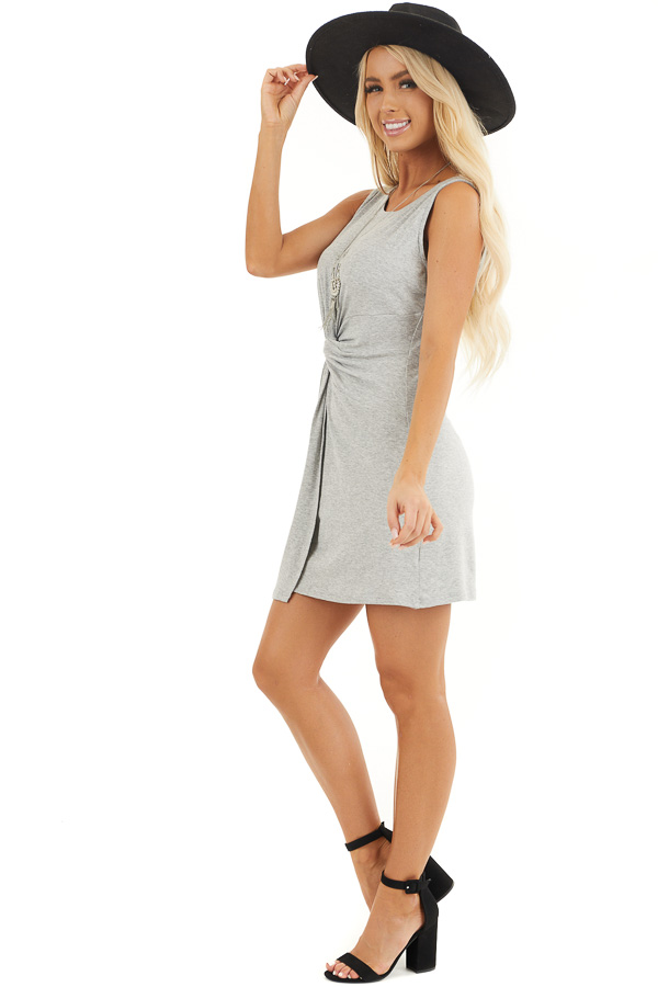 Heather Grey Sleeveless Bodycon Dress with Front Twist side full body