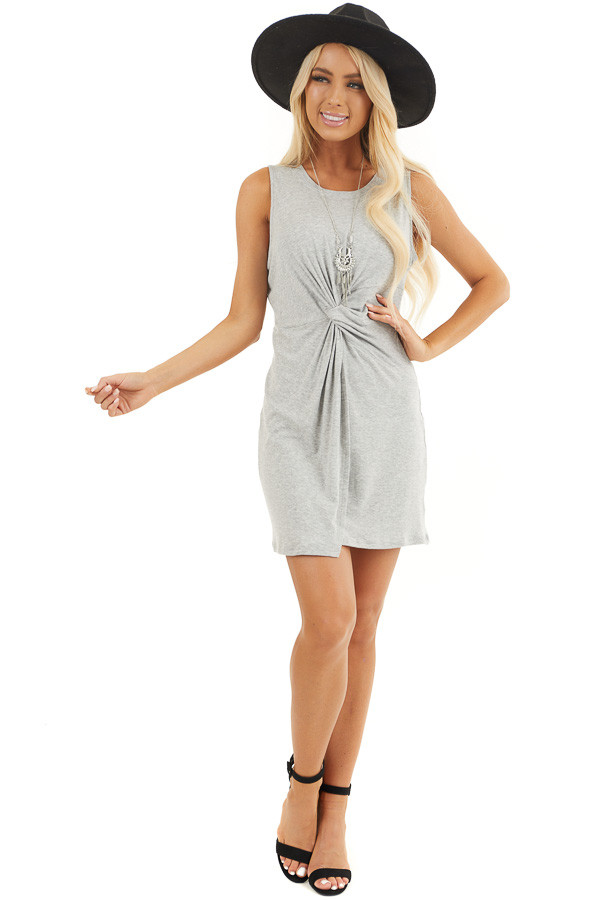 Heather Grey Sleeveless Bodycon Dress with Front Twist front full body