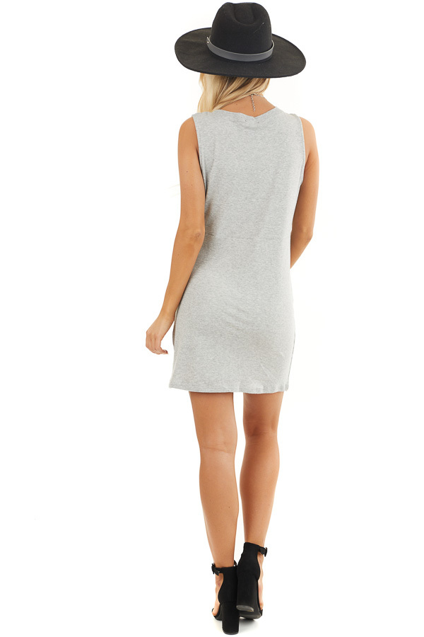Heather Grey Sleeveless Bodycon Dress with Front Twist back full body