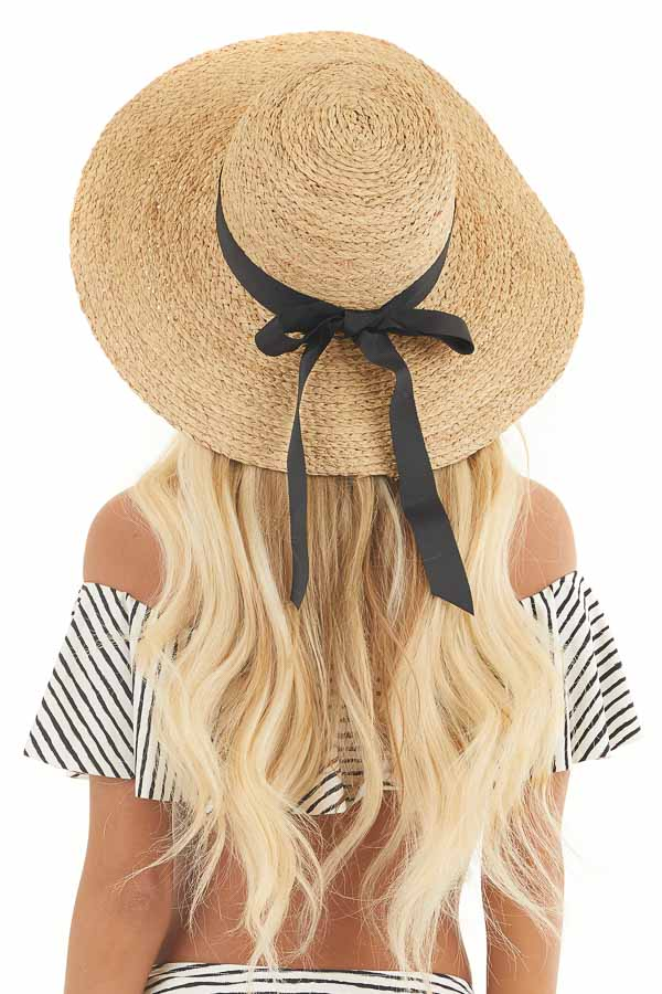 Beige Wide Brim Sun Hat with Black Ribbon and Bow Detail