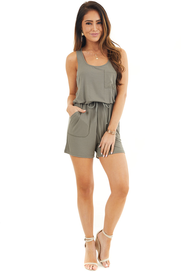 Olive Sleeveless Ribbed Knit Romper with Pocket Details front full body