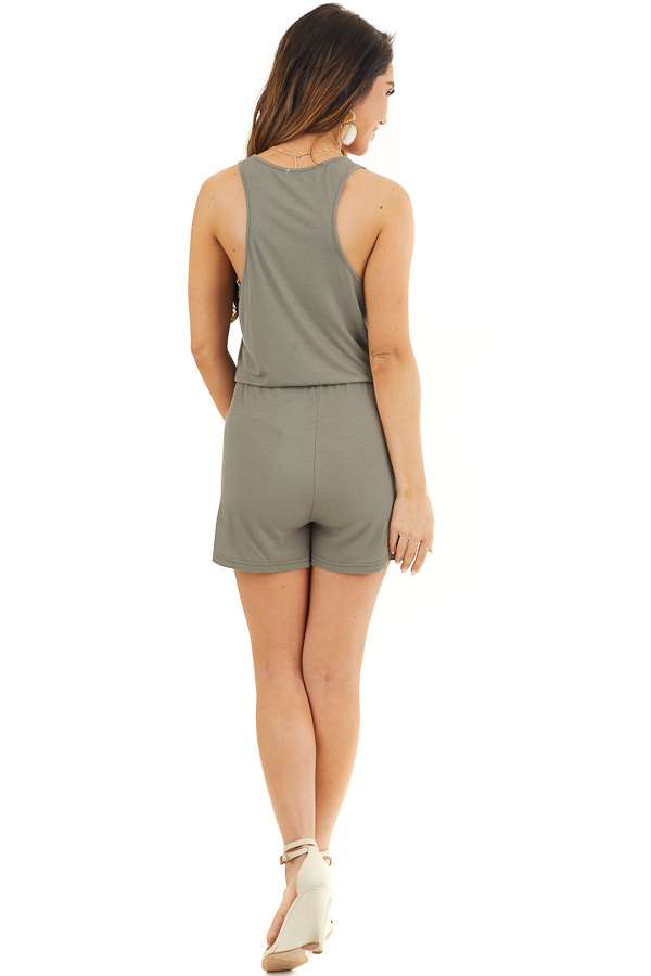 Olive Sleeveless Ribbed Knit Romper with Pocket Details back full body