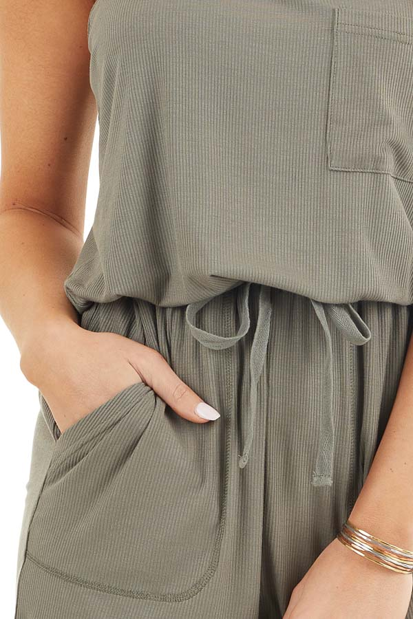Olive Sleeveless Ribbed Knit Romper with Pocket Details detail
