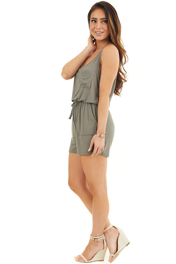 Olive Sleeveless Ribbed Knit Romper with Pocket Details side full body