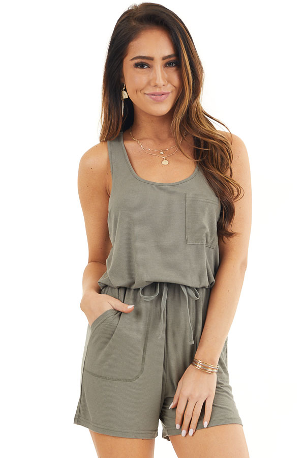 Olive Sleeveless Ribbed Knit Romper with Pocket Details front close up