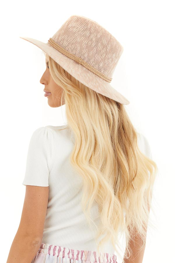 Blush Textured Panama Hat with Tan Braided Accent