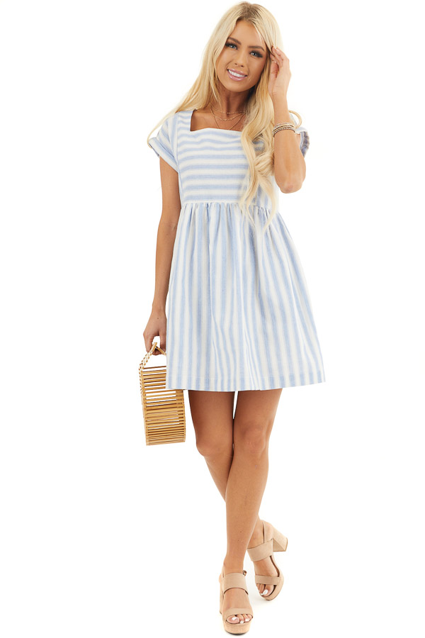 Sky Blue Striped Woven Dress with Short Rolled Sleeves front full body