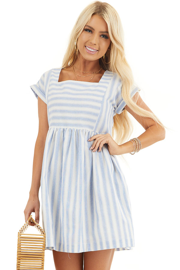 Sky Blue Striped Woven Dress with Short Rolled Sleeves front close up