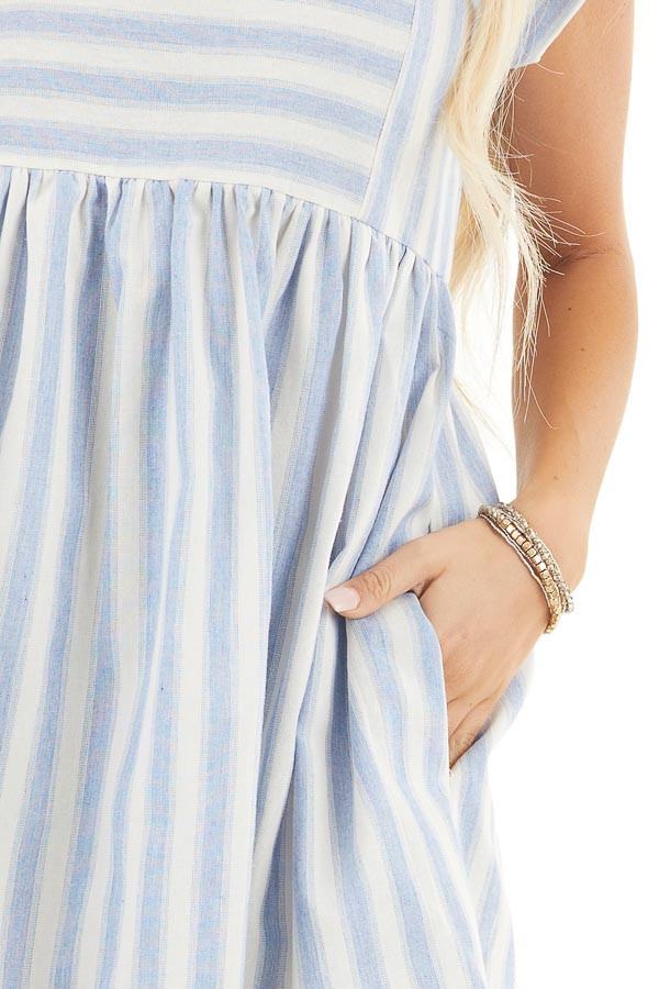 Sky Blue Striped Woven Dress with Short Rolled Sleeves detail