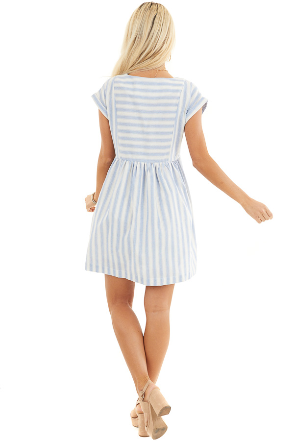 Sky Blue Striped Woven Dress with Short Rolled Sleeves back full body