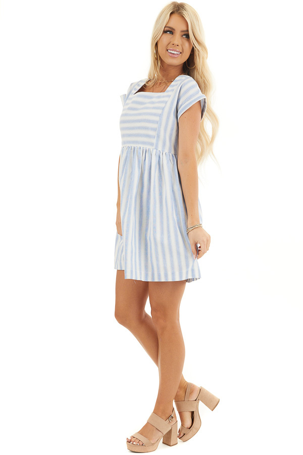 Sky Blue Striped Woven Dress with Short Rolled Sleeves side full body