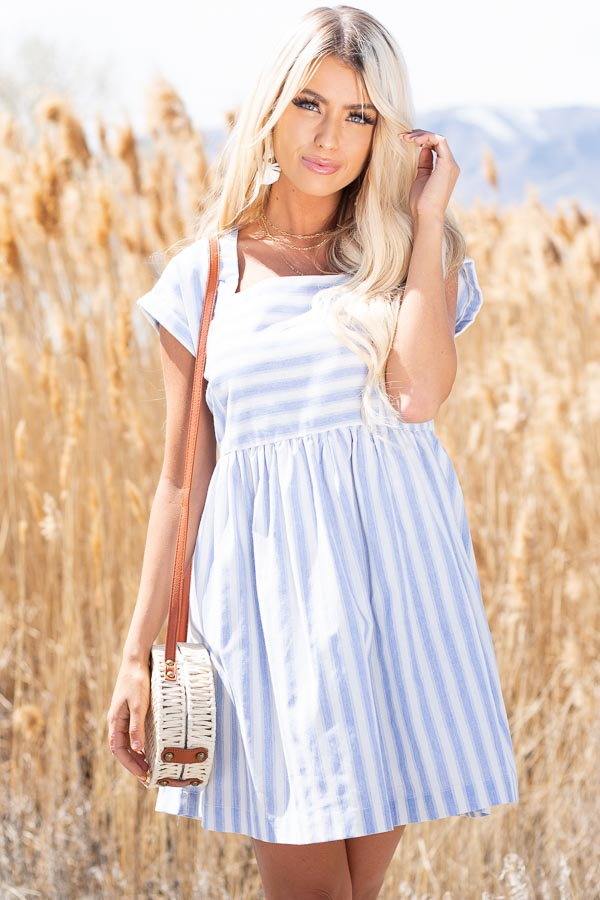 Sky Blue Striped Woven Dress with Short Rolled Sleeves