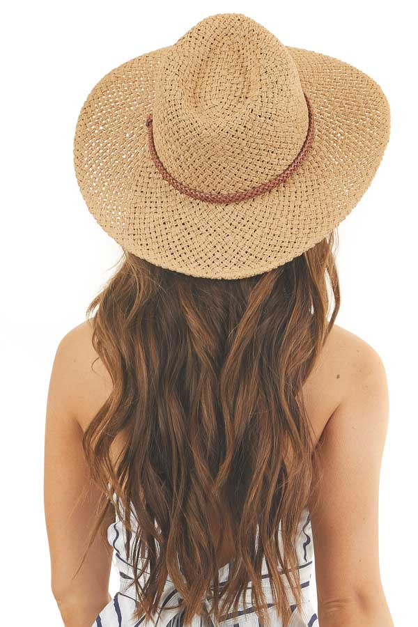 Natural Wide Brimmed Straw Fedora Hat with Braided Accent