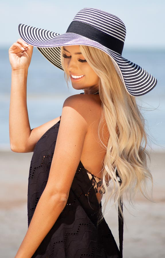 Black and Ivory Striped Wide Brim Hat with Black Ribbon Band