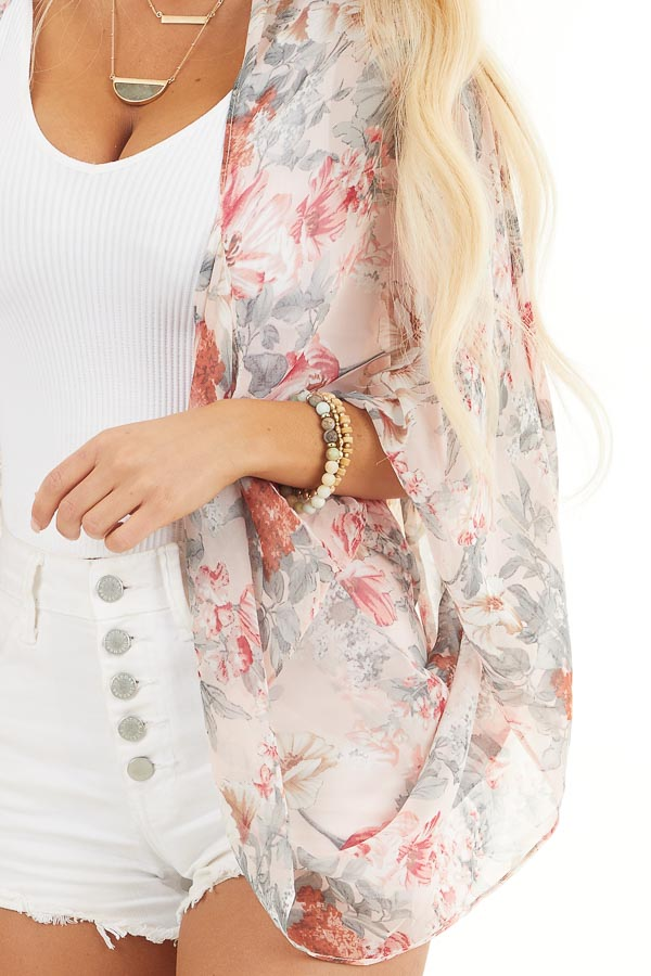 Blush Floral Print Woven Cocoon Kimono with Long Sleeves detail