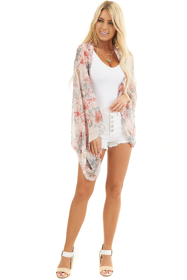 Blush Floral Print Woven Cocoon Kimono with Long Sleeves front full body