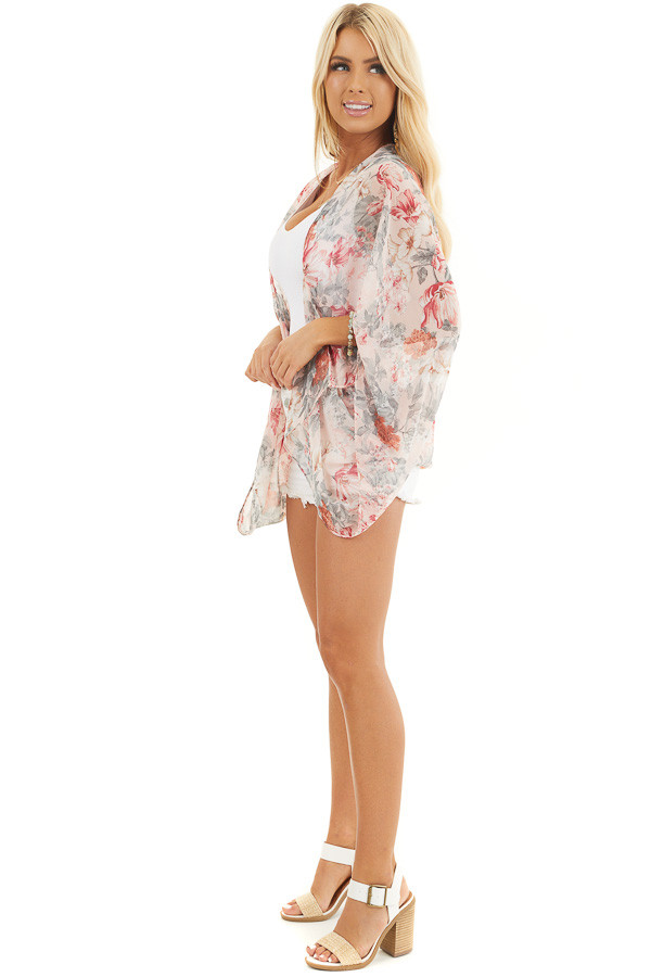 Blush Floral Print Woven Cocoon Kimono with Long Sleeves side full body