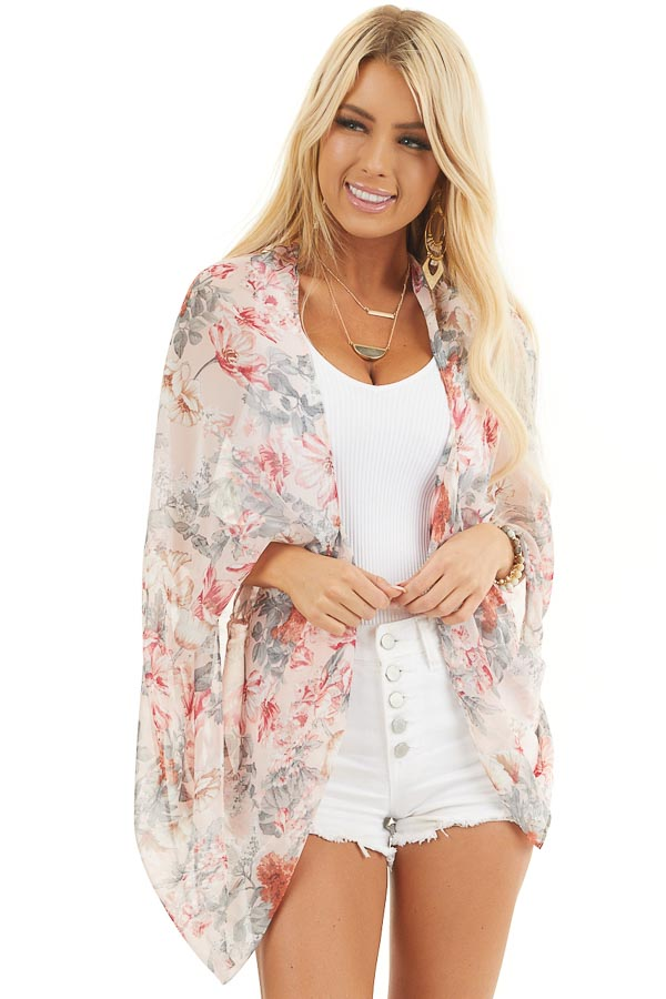 Blush Floral Print Woven Cocoon Kimono with Long Sleeves front close up