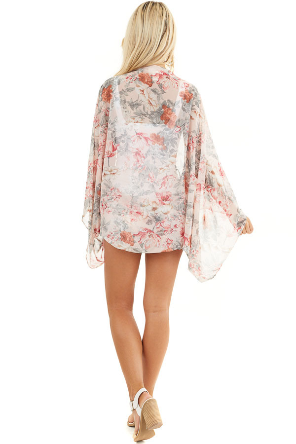 Blush Floral Print Woven Cocoon Kimono with Long Sleeves back full body
