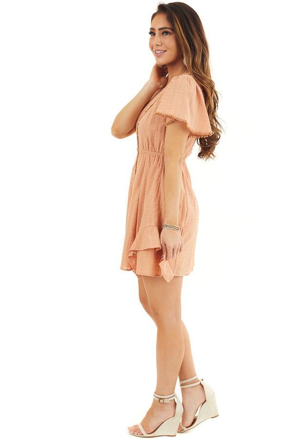 Apricot Short Sleeve Swiss Dot Woven Dress with Lace Trim side full body
