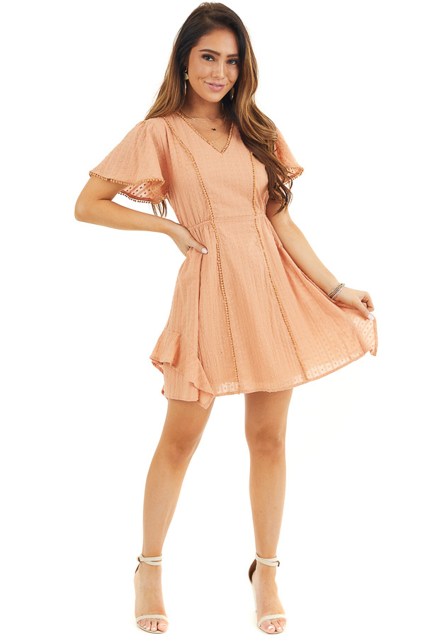 Apricot Short Sleeve Swiss Dot Woven Dress with Lace Trim front full body