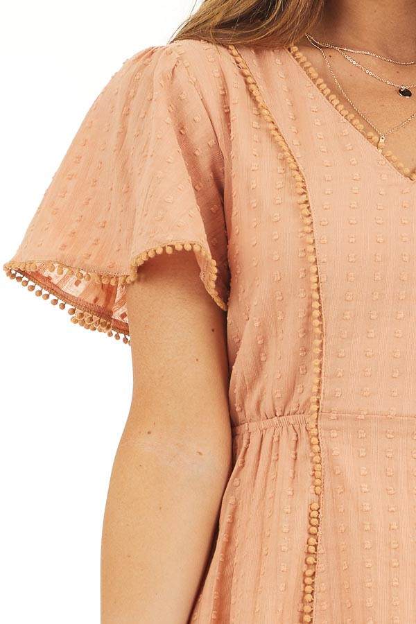 Apricot Short Sleeve Swiss Dot Woven Dress with Lace Trim detail
