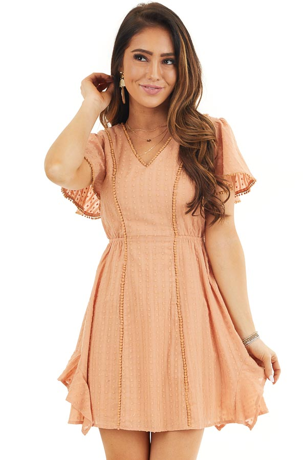 Apricot Short Sleeve Swiss Dot Woven Dress with Lace Trim front close up
