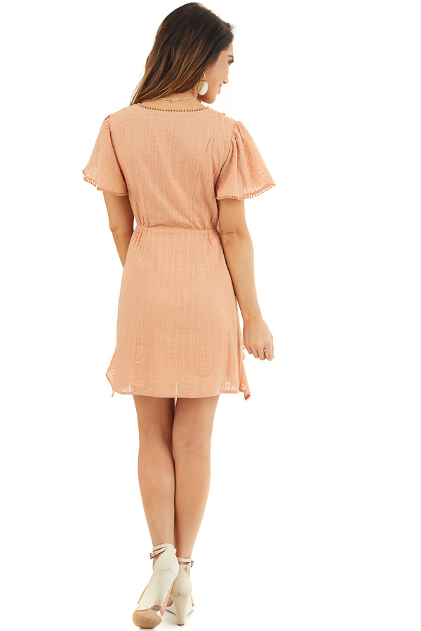 Apricot Short Sleeve Swiss Dot Woven Dress with Lace Trim back full body