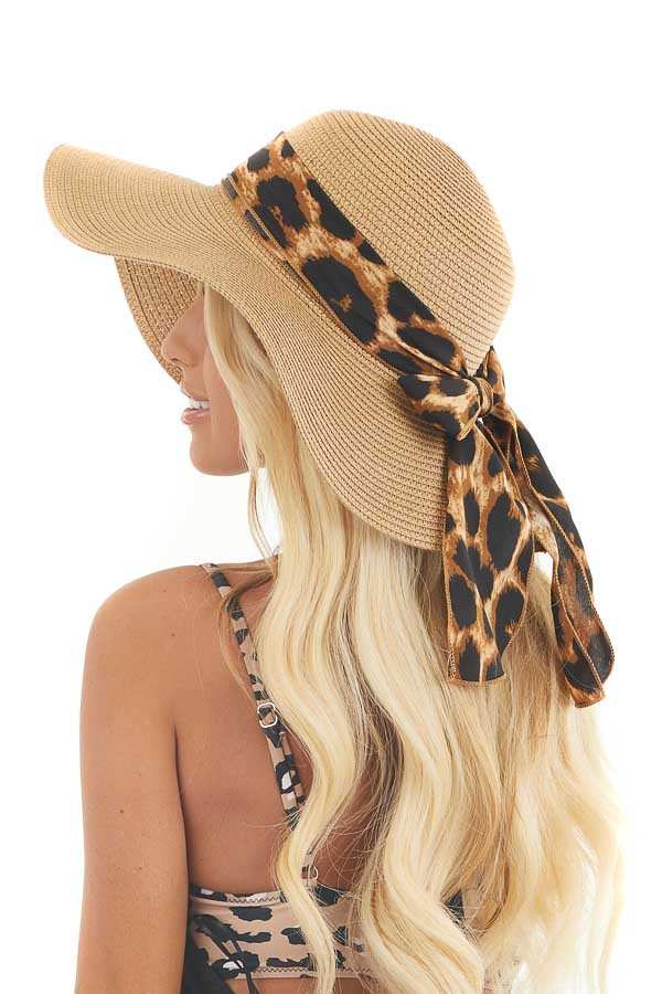 Natural Wide Brim Straw Hat with Leopard Ribbon and Bow
