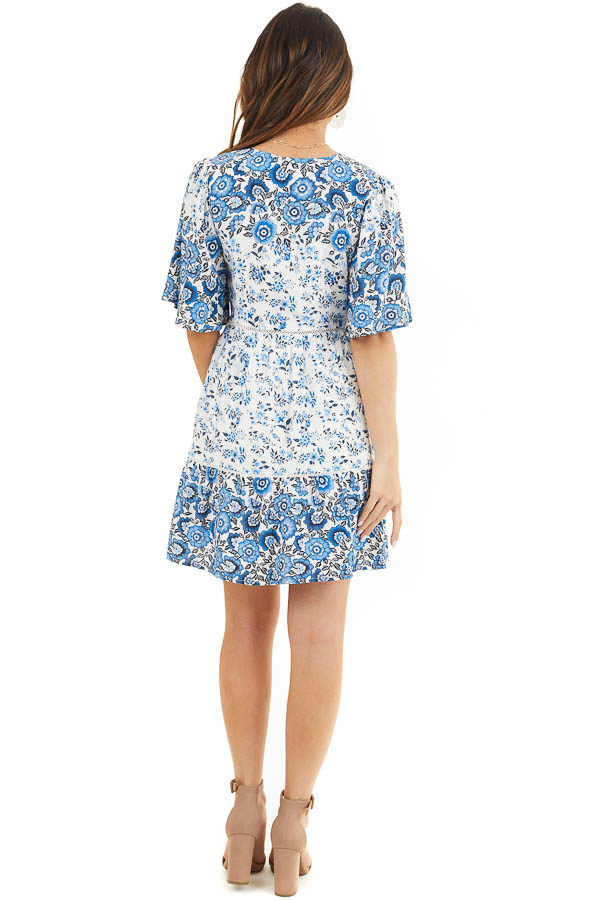 White and Blue Floral Short Woven Dress with Lace Details back full body