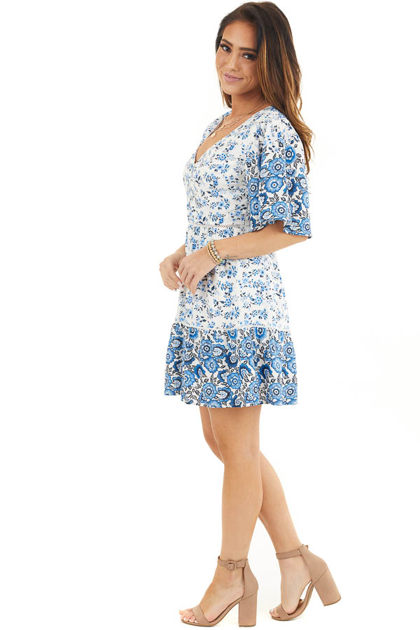 White and Blue Floral Short Woven Dress with Lace Details side full body