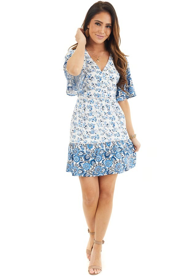 White and Blue Floral Short Woven Dress with Lace Details front full body