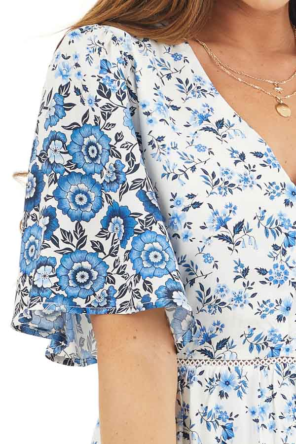 White and Blue Floral Short Woven Dress with Lace Details detail