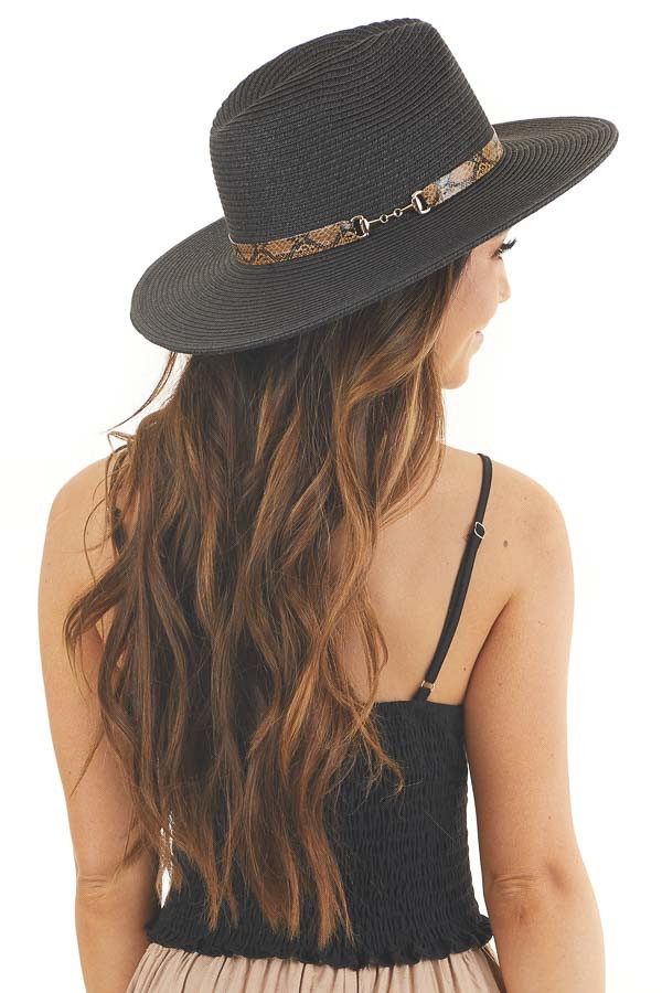 Black Straw Panama Hat with Python Faux Leather Band