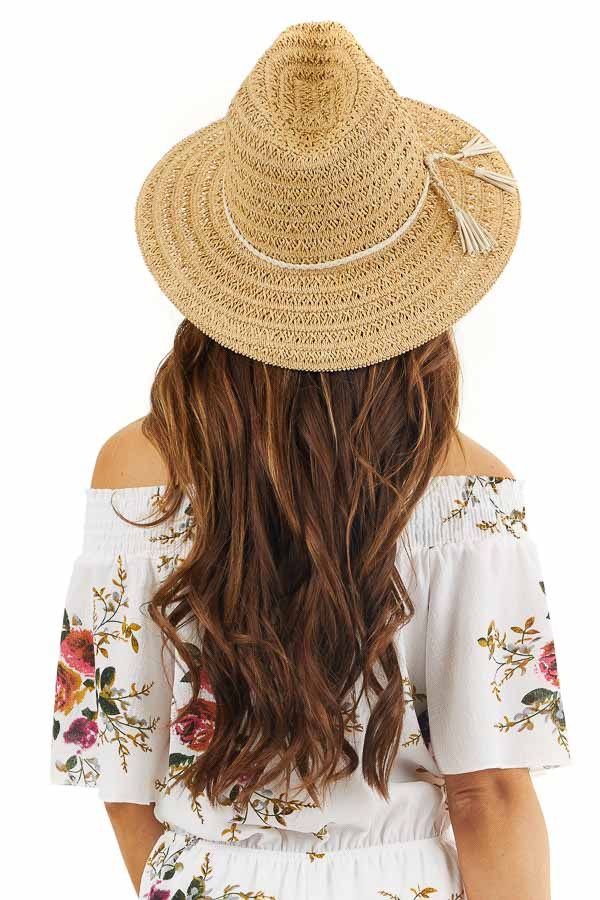 Natural Straw Panama Hat with Ivory Braided Tassel Accent