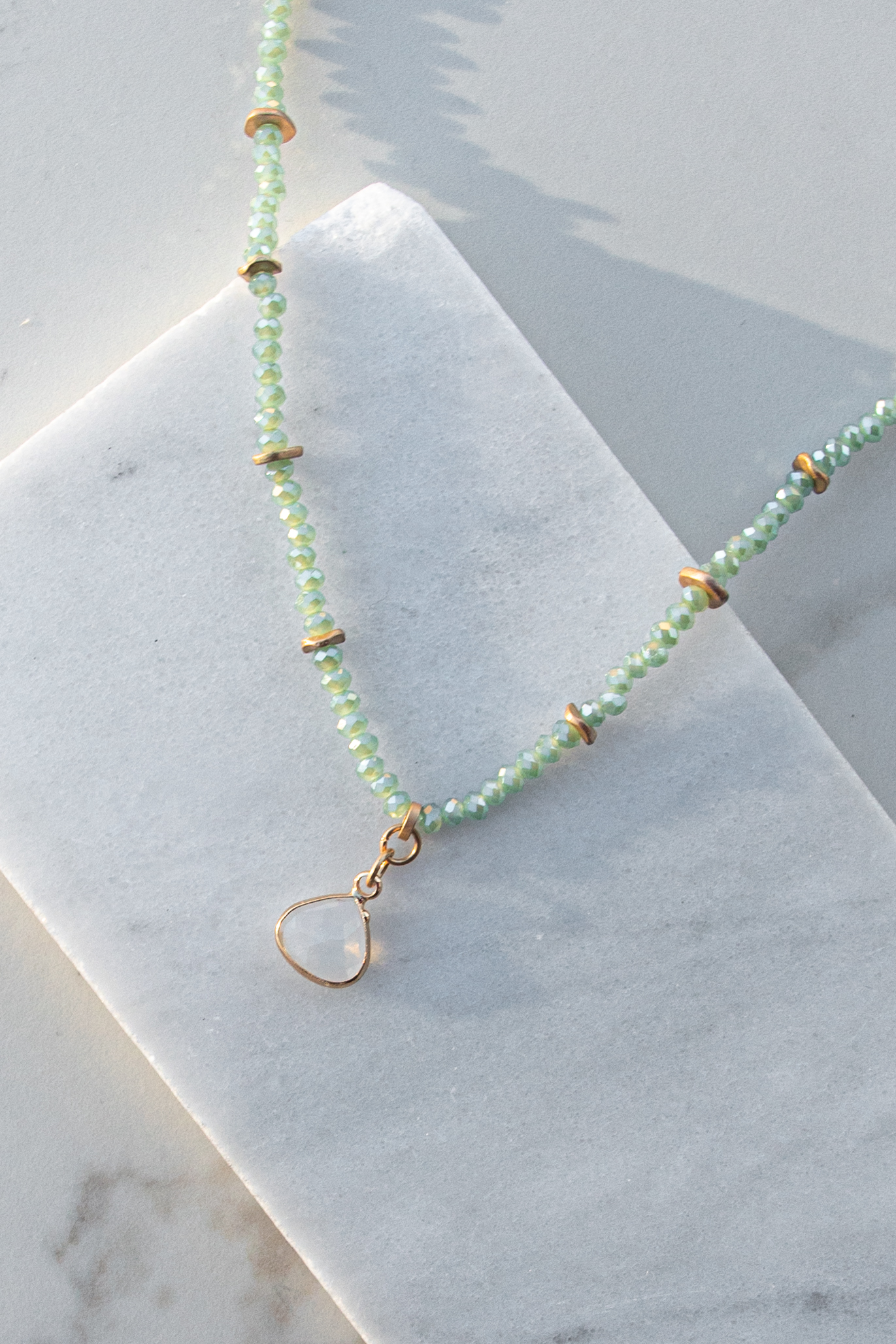 Mint and Gold Beaded Necklace with Crystal Pendant