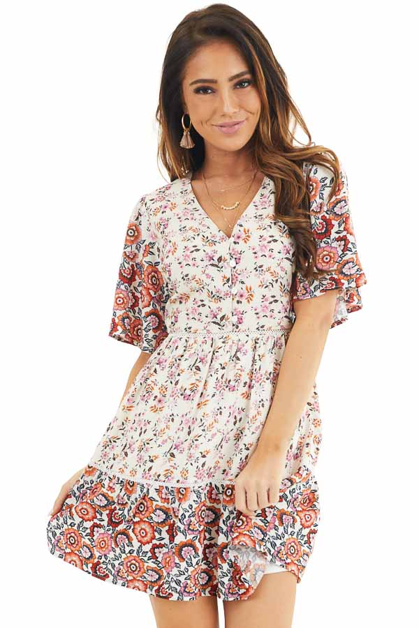 White and Pink Floral Short Woven Dress with Lace Details front close up