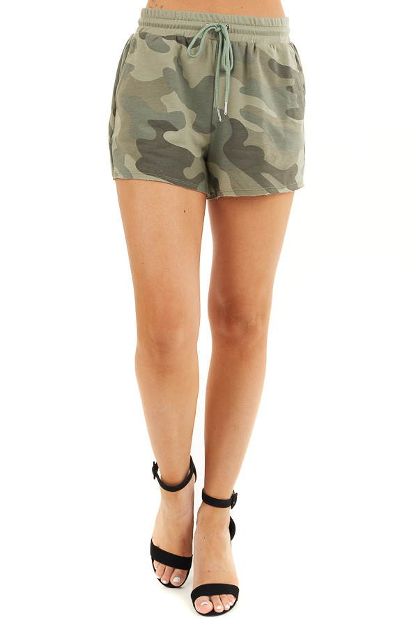 Olive Camo Print Shorts with Drawstring Waist and Pockets front view