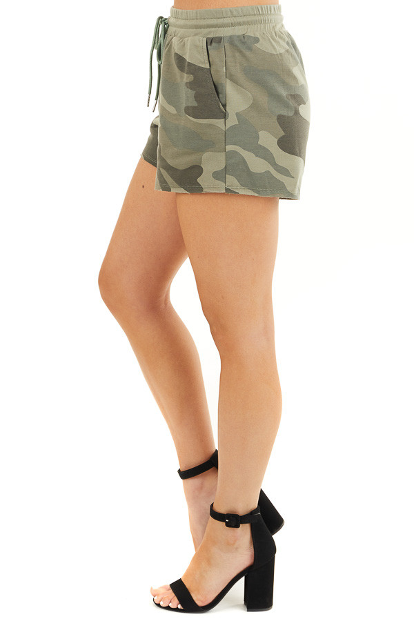 Olive Camo Print Shorts with Drawstring Waist and Pockets side view