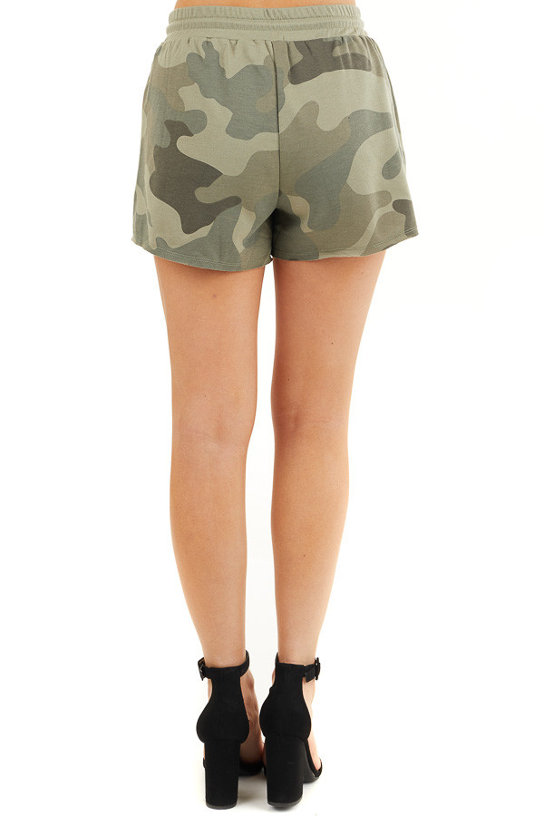 Olive Camo Print Shorts with Drawstring Waist and Pockets back view